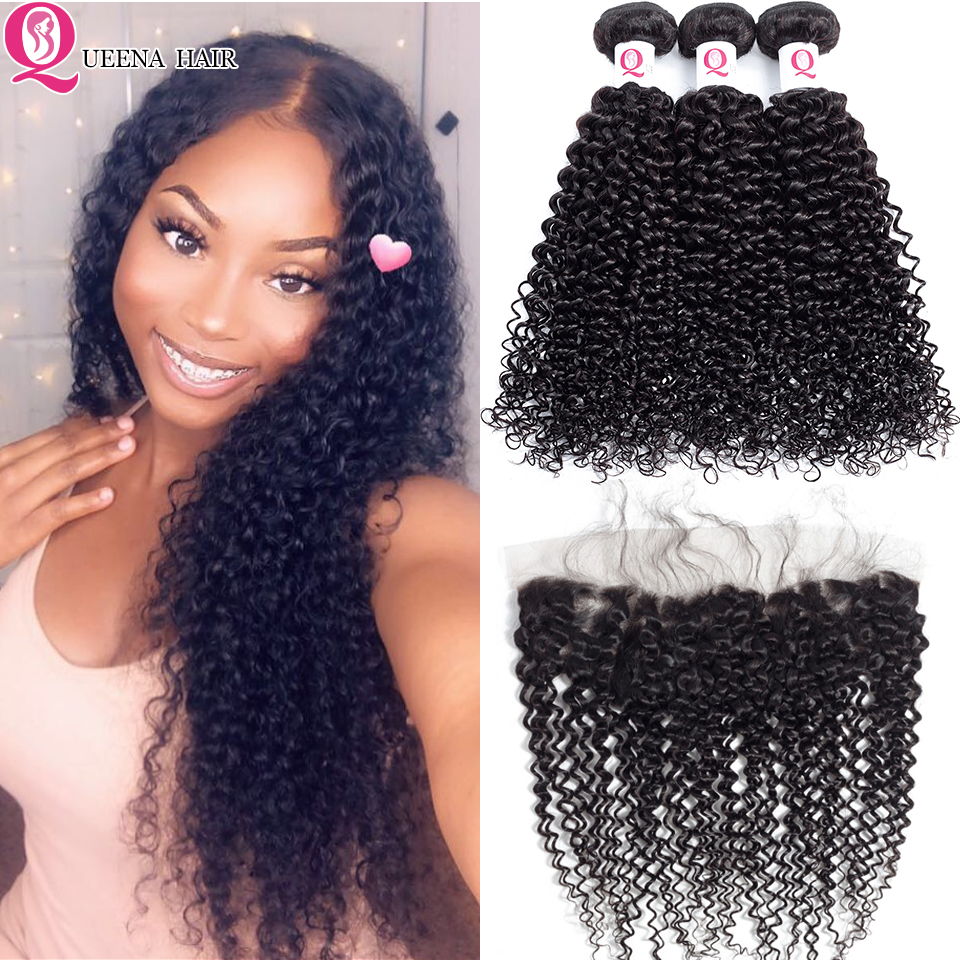 High Quality Kinky Curly Hair Bundles With Frontal Closure 100% Remy Human Hair Peruvian Curly Hair Weave Bundles With Closure