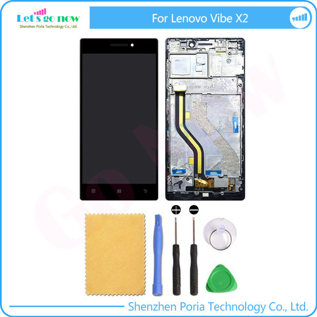 ФОТО New Replacement Parts For Lenovo Vibe X2 LCD Display Touch Screen Digitizer Assembly X2-TO X2-CU With Frame+Tools