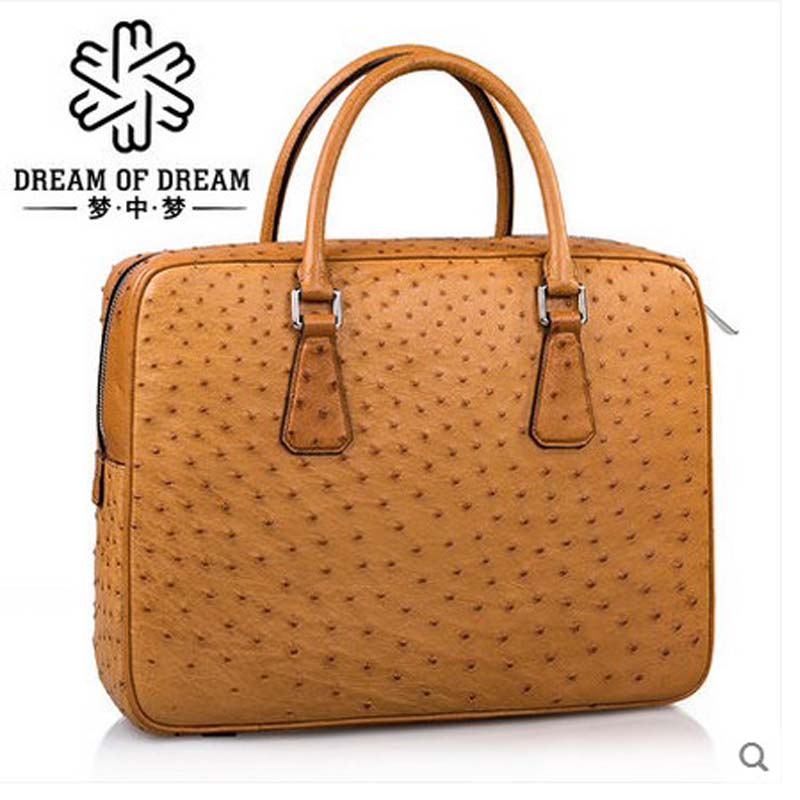 mengzhongmeng import Ostrich leather men handbag Ostrich leather fashion business bag custom South African ostrich skin men bag купить