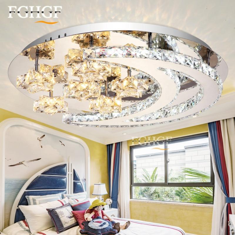Modern led crystal chandelier light moon star crystal Flush Mounted Chandeliers lamp living room Lustres for Bedroom Dining room