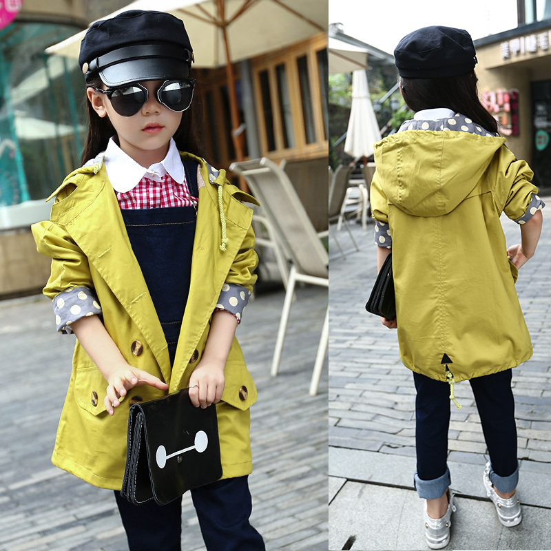 Teenager Girls Jackets 2017 Autumn Kids Clothes Long Section Solid Girl Trench Jacket Slim Cotton Children Streetwear Coat 5-14T teenager girl dot trench coat outwear kids hooded clothes spring and autumn jacket children s clothing 15380421