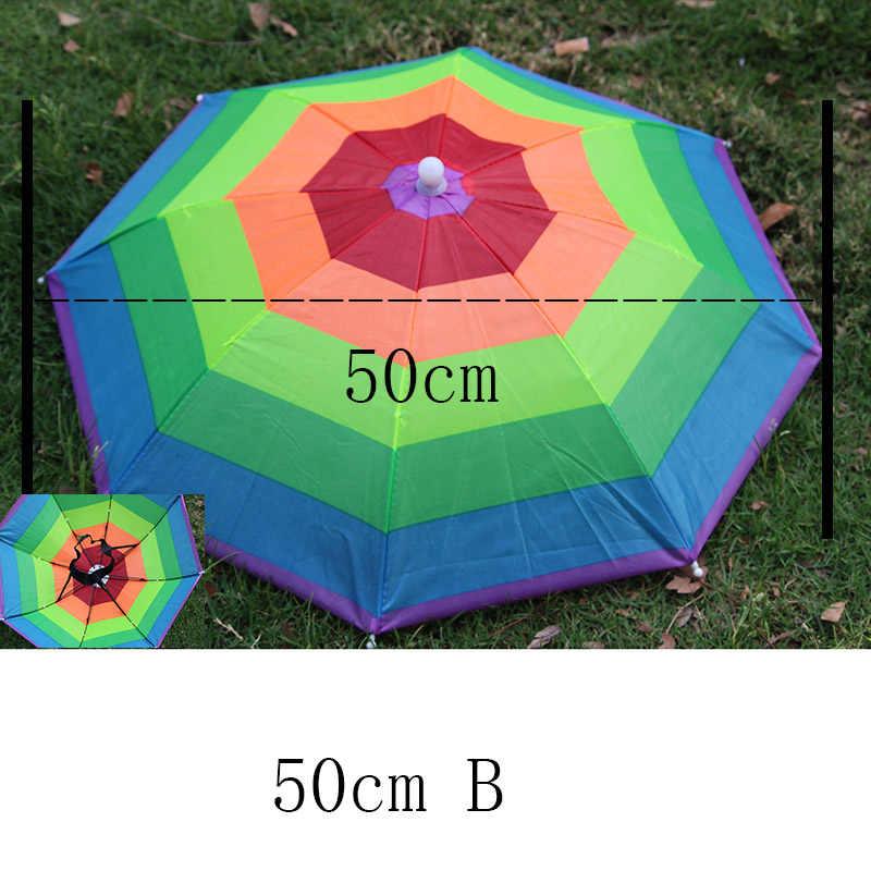 YADA cappello per ombrellone da esterno novità pieghevole sole giorno giorno di pioggia mani libere arcobaleno pieghevole e impermeabile cappello multicolore cappello YS0018
