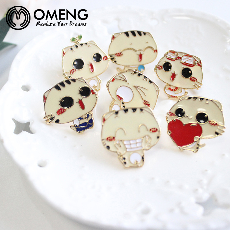 OMENG Kitty Cat face expression Heart Acrylic Cartoon Brooch Pins,Fashion Jewelry Backbag Button Free shipping OXZ124