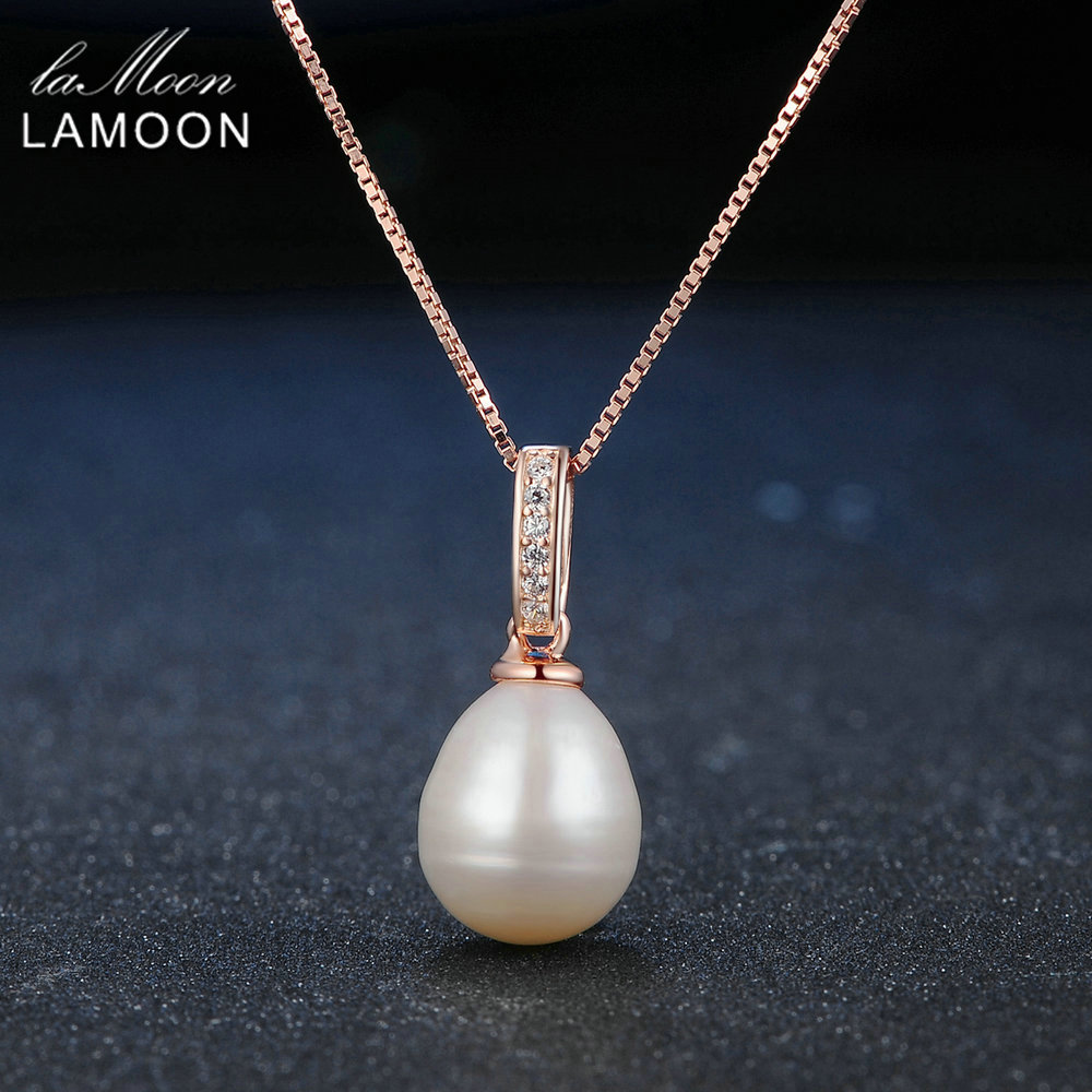 Lamoon 8mm 100% Natural Freshwater Pearl Jewelry 925 Sterling Silver Pendant Necklace Women Jewelry LMNI047 wholesale good natural 7 8mm aaa pearl necklace jewelry natural white freshwater pearl collares anime 925 silver