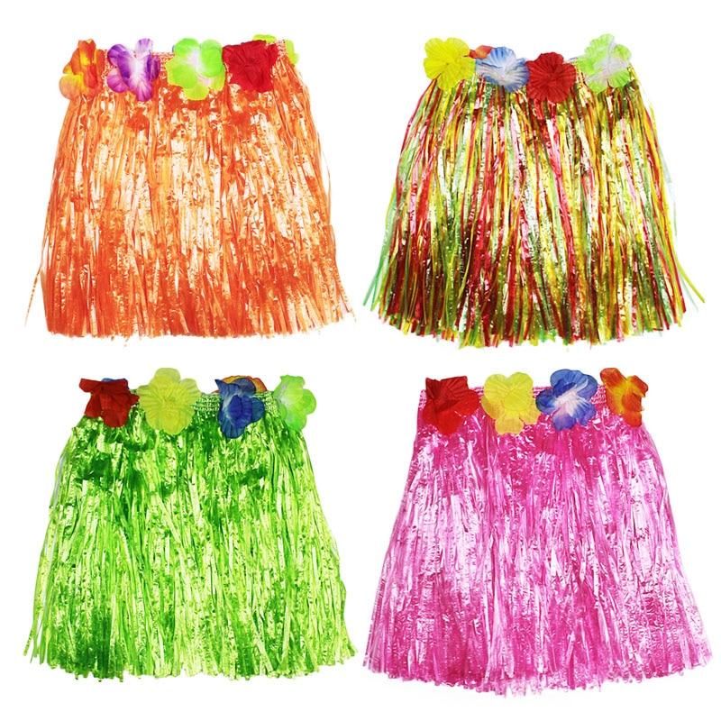 30 cm-80 cm fibras plásticas mujeres baile faldas de hierba Hula falda trajes hawaianos niños vestido de escenario suministros festivos para fiestas