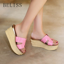 BELISS summer women slippers wedges patent leather peep toe ladies flat shoe platform female slides S19