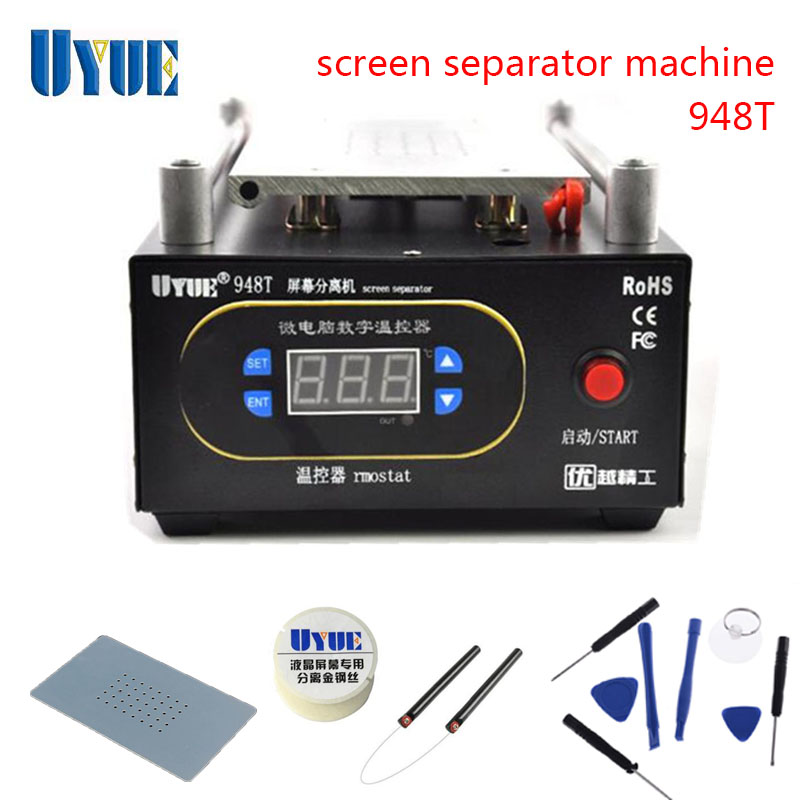 UYUE 948T Max 7 inches Mobile phone Built-in Pump Vacuum Glass LCD Screen Separator Machine + Cutting Wire + Wire Handle bst 855a lcd vacuum separator touch screen assembly splitter below 7 inches cellphonesplit screen machine