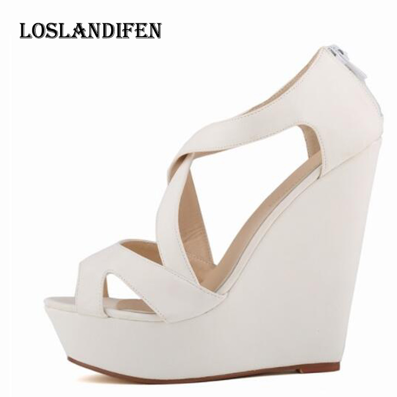 Loslandifen Women <font><b>Sexy</b></font> Cross Strap Gladiator Wedge Patry <font><b>High</b></font> <font><b>Heel</b></font> <font><b>Sandals</b></font> Shoes Plus Size 35-42 Ladies Summer <font><b>Sandals</b></font> image