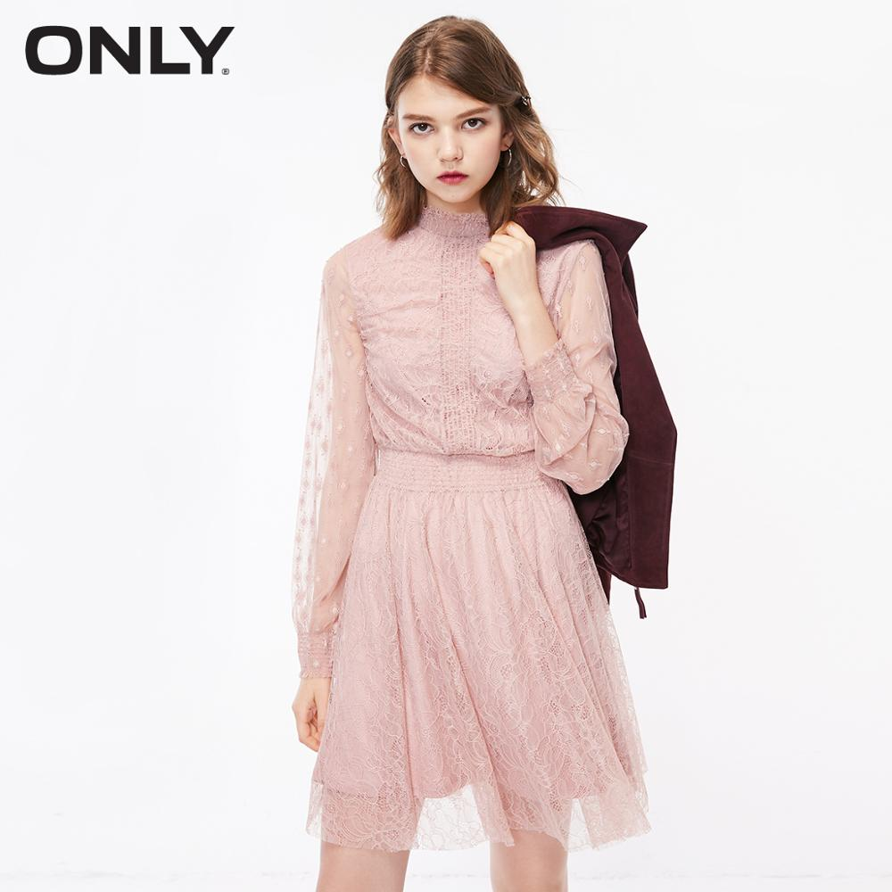 ONLY  See-through Back Neck Lace Elasticized Waist Long-sleeved Dress|118361530