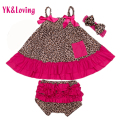 Baby Girl3 Pcs Clothes Sets Leopard Swing Top Cotton Newborn Girls Dress Sling T-Shirt + Bloomers + Headband Infant Clothing set