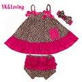 Girl3 Pc Sistemas de la Ropa del bebé Leopardo Oscilación Superior de Algodón Recién Nacido girls dress sling t-shirt + bloomers + diadema ropa infantil conjunto