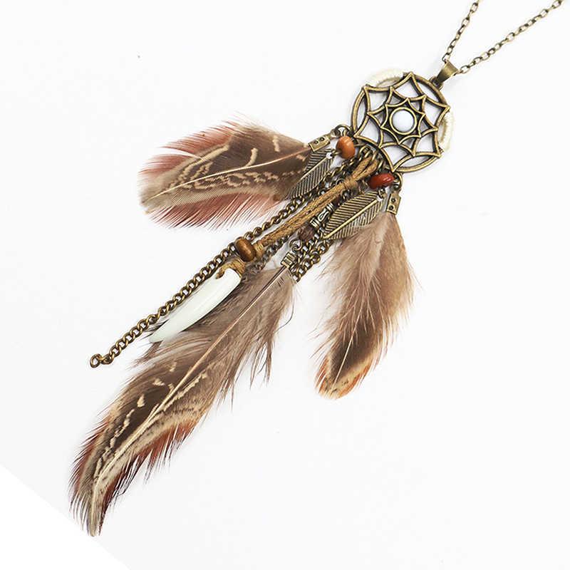 ผู้หญิง Feather สร้อยคอ Vintage เสื้อชาติพันธุ์ Dream Catcher จี้ยาวโบฮีเมียยาวสร้อยคอเครื่องประดับ