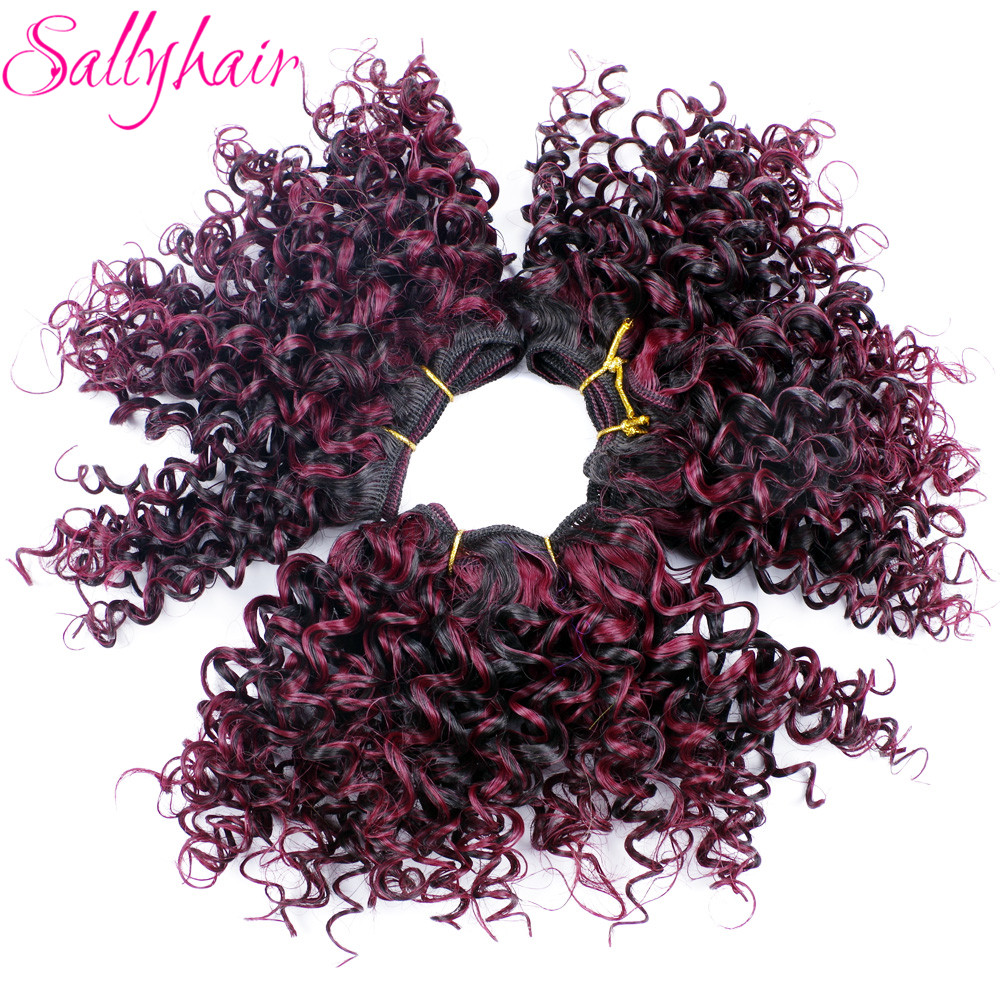 Sallyhair Ombre Color Afro Kinky Curly Crochet Hair Weave Mixed Black Burgundy Synthetic Hair Extensions 3pc/lot Hair Weavings