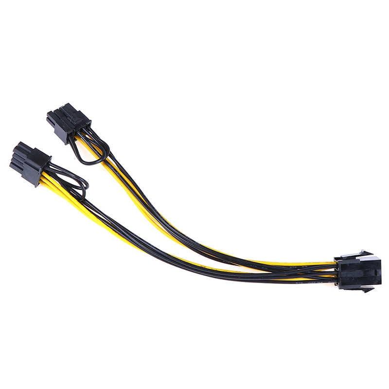PCI-E 6 دبوس إلى 2x6 + 2 دبوس (6-دبوس/8-دبوس) الطاقة الفاصل كابل بكيي Pci اكسبرس 20 سنتيمتر