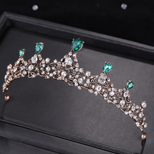Exquisite Green Crystal Crown Hair Accessories For Women Fashionable Princess Crystal Crown Bridal Wedding Hair Accessories