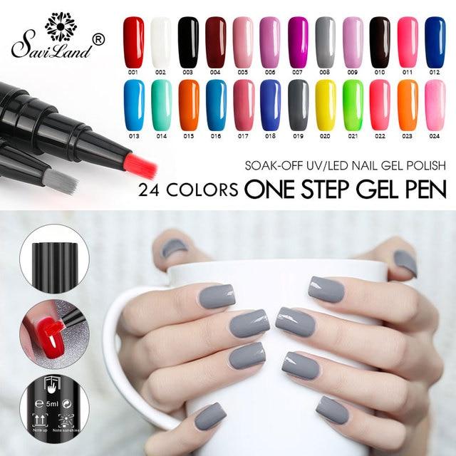 Saviland Nail Gel Pen Glitter 3 In 1 Gel Nail Varnish Pen Easy To ...