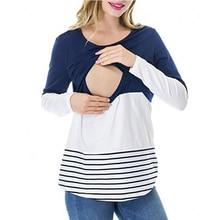 Бременни кърмещи топ дрехи бременност майчинство облекло риза дълги ръкави върховете на кърменето пижама нощницата спално облекло