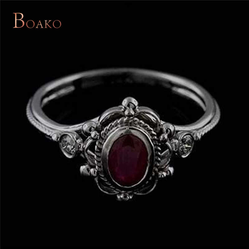 Vintage Tibetan Antique Silver Plated Red Purple Oval Stone Crystal  Ring for Women Male Female Ring bague femme Jewelry Z4