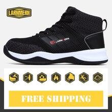 Trabalho dos homens & Botas de Segurança com Biqueira De Aço Sapatos de Proteção Respirável malha Ar-Luz de Segurança do Trabalho Sapatos Macios Para A Construção borracha