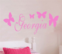 Wholesale New Romantic Pink Butterfly Monogram Wall Decals Princess Custom Names Bedroom Wall Stickers Vinyl Girls