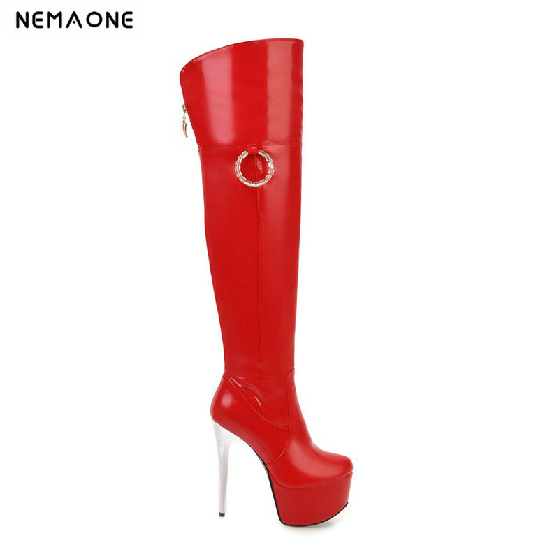 NEMAONE New 14cm super high heels over the knee boots wedding woman autumn winter boots wedding shoes woman large size 41 42 43 new sexy women boots winter over the knee high boots party dress boots woman high heels snow boots women shoes large size 34 43