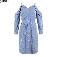 Blue Stripe Sweetheart V Neck Tie Waist Side Split Spaghetti Strap Office Dress Women Long Sleeve Backless Casual Straight Wear