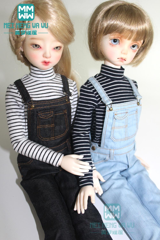 BJD Accessories 43cm 1/4 BJD MSD Doll Clothes Fashion Striped T-shirt And Denim Bib Pants