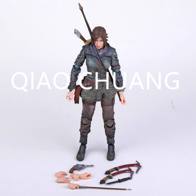The Tomb Raider Action Figure Lara Croft Play Arts Kai Toys PVC 270mm Anime Movie Toys Rise of The Tomb Raider Playarts Lara Y83 game 26 cm rise of the tomb raider lara croft variant painted figure variant lara croft pvc action figure collectible model toy