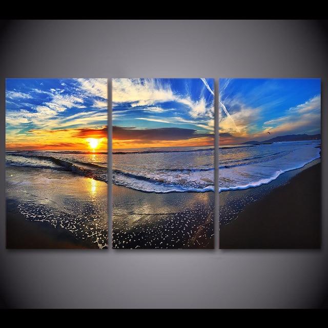 3 Pcsset Framed Hd Dicetak Pantai Gelombang Awan Senja Poster