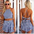 2017 New Fashion Womens Suit Sleeveless Crop Tops and Hollow Out Cotton Striped Strapless Women Clothes Pant Two Pieces Tops