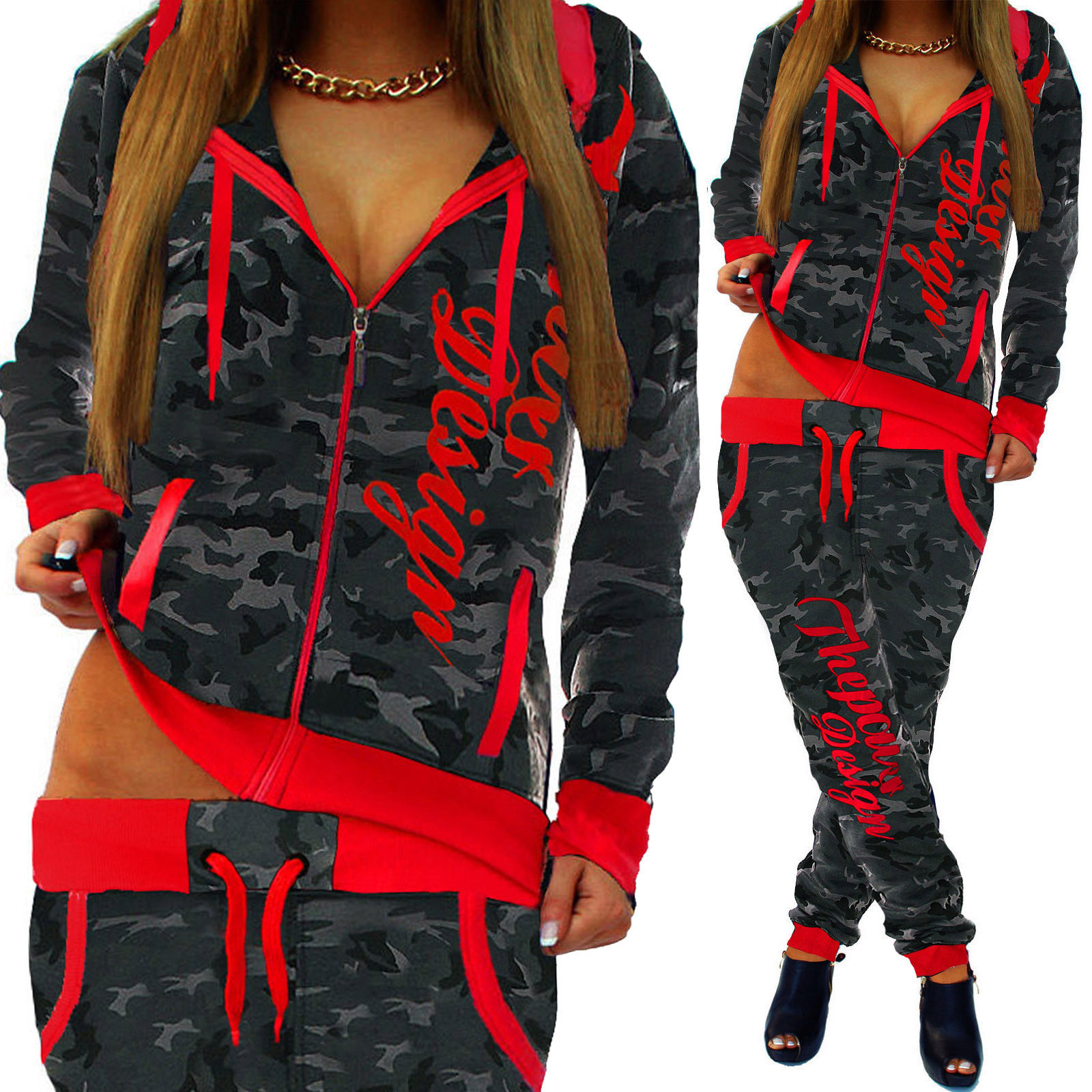 ZOGAA spring new 2 piece set women fashion clothing women 2019 Casual camouflage street style sweatsuits for women Plus S 3XL in Women 39 s Sets from Women 39 s Clothing