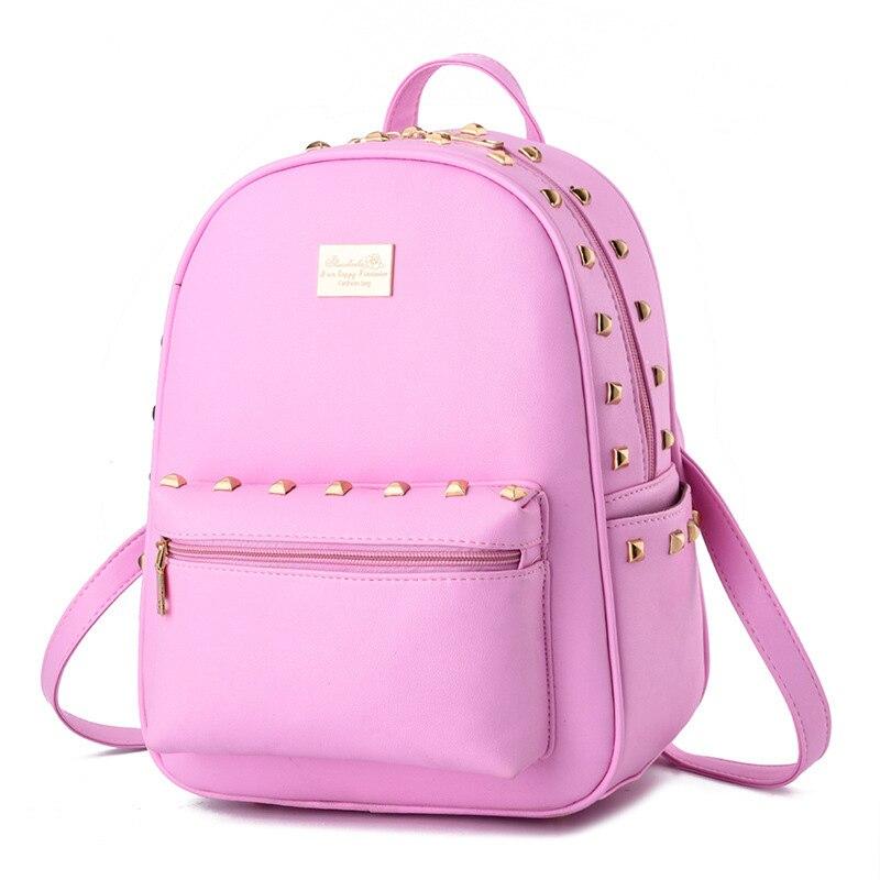 Elegant PU Women Backpacks Casual Traveling Bag Pink Girls' Schoolbag Rivets Decoration Adjustable Straps pu adjustable strap hat shaped girls mini bag