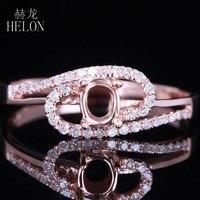 HELON Solid 14 K (585) розовое золото 5x3mm овальная огранка установка настоящие натуральные бриллианты элегантные обручальные свадебные женские ювел
