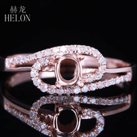 HELON Solid 14K (585) Rose Gold 5x3mm Oval Cut Setting Real Natural Diamonds Elegant Engagement Wedding Women Fine Jewelry Ring