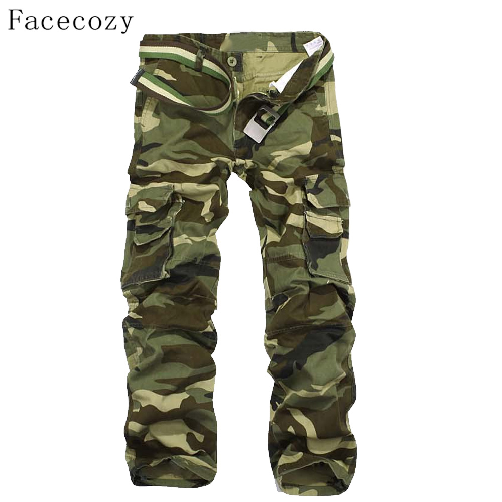 Facecozy Men Tactical Military Camouflage Trouser Male Autumn Outdoor Multi-pockets Climbing Pants facecozy men summer camouflage sports shorts male outdoor tactical military fishing short trouser with multi pockets