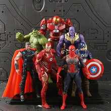 7 pcs/set Disney Marvel Avengers Spider-Man Iron Man Thor Captain America Hulk Thanos Action Figure Doll Ornaments Model Toy цена