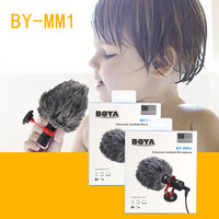 BOYA BY MM1 Phone Video Microphone 3.5mm Wired Condenser Sound Microphones With Shock Mount For iphone DSLR Camera Recording Mic