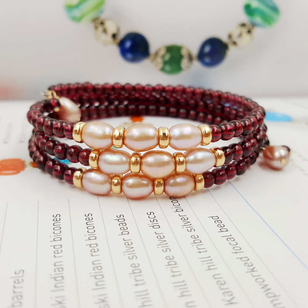Natural AAA Red Garnet 3 4mm Beads Freshwater Pearl 925 sterling silver Gold Color Fashion Memory
