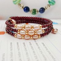 Natural AAA Red Garnet 3 4mm Beads Freshwater Pearl 925 Sterling Silver Gold Color Fashion