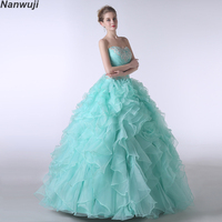 Puffy Quinceanera Dresses 2018 Sweetheart Mint gree Beading Sweet 16 Ball Gowns Blue Quinceanera Dress 15 Years Birthday Party