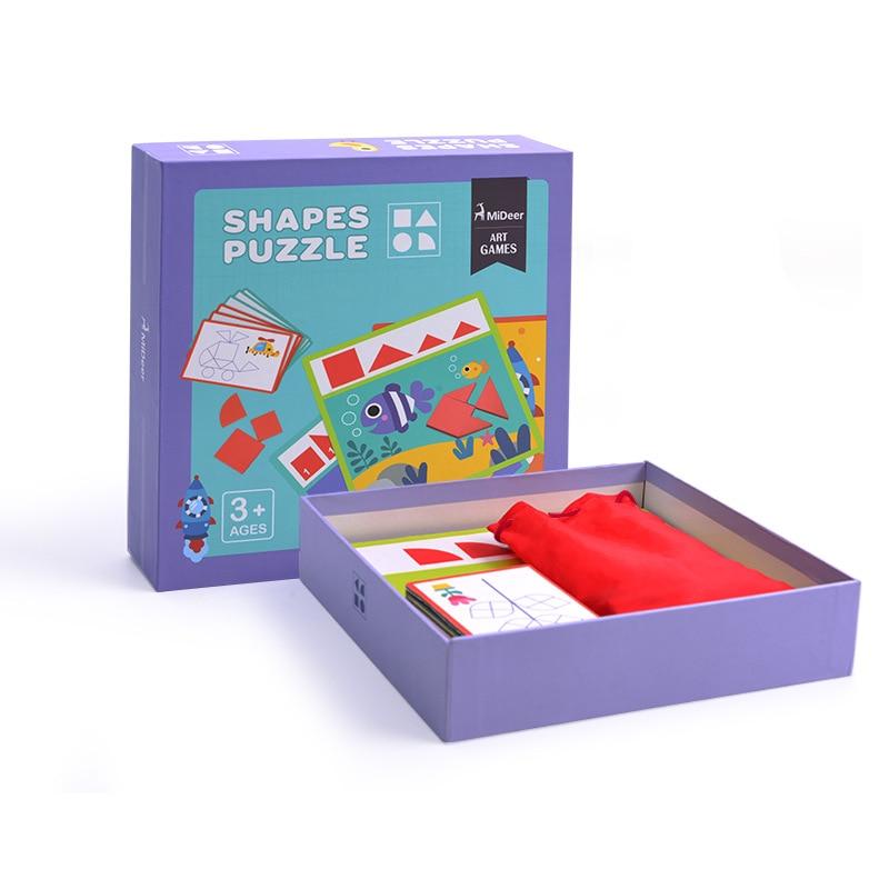 Mideer деревянный чип головоломки геометрический Форма Tangram деревянные головоломки Дети головоломка Танграм игрушки, развивающие игрушки