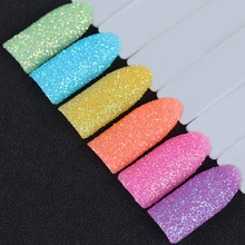 6 Boxes Candy Color Nail Glitter Powder Set Colorful Rainbow Sandy Nail Art Dust Pigment Powder