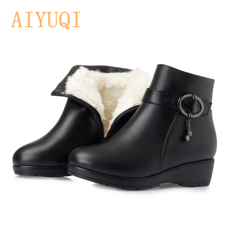 AIYUQI   Women snow boots 2019  genuine leather flat boots, big size  warm thick mother boots,winter naked shoesAIYUQI   Women snow boots 2019  genuine leather flat boots, big size  warm thick mother boots,winter naked shoes