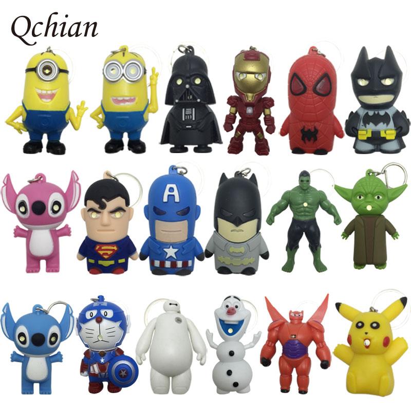 Star Wars Key Chains Batman keychain Iron Man Key Holder Hulk Big Hero 6 Batman Olaf Pikachu Keyrings Spiderman Lighting Sounds