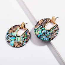 YJX Fall 2018 New Collection Statement Round Disc Abalone Shell Drop Earrings Stunning Weightless