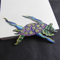 1 PC Boutique Colorful Embroidery Turtles Patch Iron Sew Applique for Clothing Taiwan Imported Embroidery High - Grade Patch