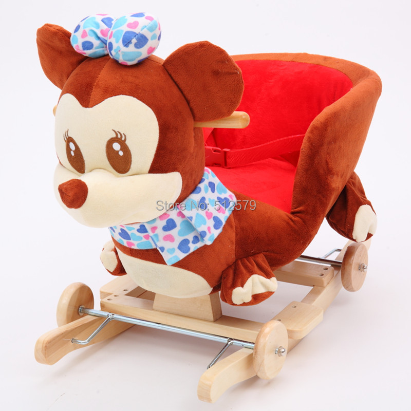 Kingtoy Plush Baby Rocking Chair Children Wood Swing Seat Kids Outdoor Ride on Rocking Cradle Toy