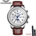 GUANQIN, мужские часы, оригинальный бренд, вечный календарь, 4 руки, автоматический механический ход, мужские водонепроницаемые наручные часы, м...