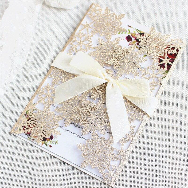 Glittery เลเซอร์ตัดเกล็ดหิมะคำเชิญ rose gold silver bling งานแต่งงานชุดการพิมพ์ที่กำหนดเอง 50pcs-ใน การ์ดและบัตรเชิญ จาก บ้านและสวน บน   2