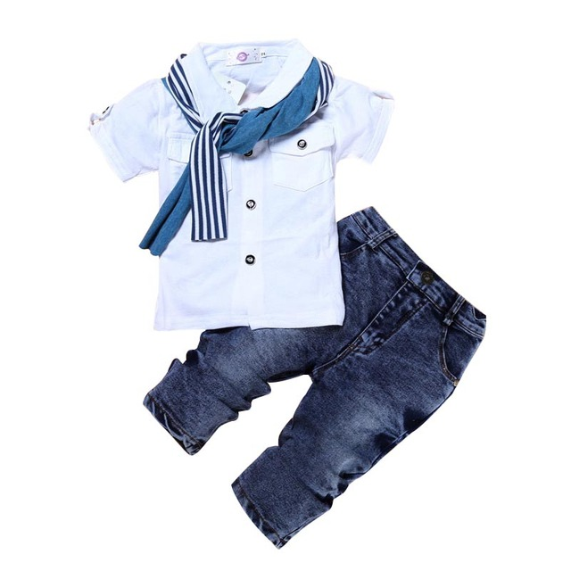 2-7Y Kids Clothes Gentleman Baby Boys Short Sleeves Top Shirt+Denim Pants Outfits Set